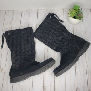 The Sak Black Woven Suede Knee High Boots